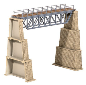 Ratio 240 Steel Truss Bridge With Stone Piers N Scale Plastic Kit