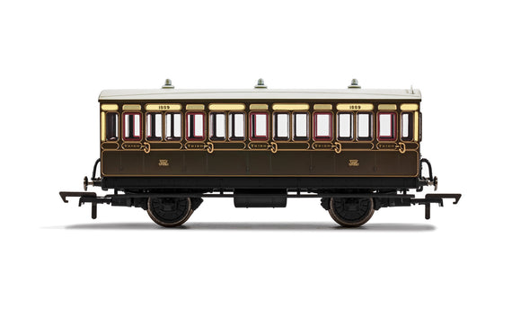 PRE-ORDER Hornby R40112 GWR 4 Wheel Coach 3rd Class 1889 WITH LIGHTS