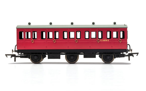 PRE-ORDER Hornby R40124 BR 6 Wheel Coach 3rd Class E31070 WITH LIGHTS