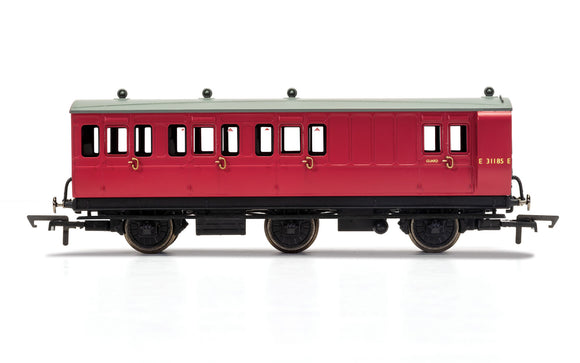 PRE-ORDER Hornby R40126 BR 6 Wheel Coach Brake 3rd Class E31185 WITH LIGHTS