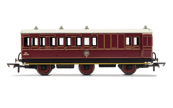 Hornby R40142 NBR 6 Wheel Coach Unclassed (Brake 3rd) Coach 472 WITH LIGHTS