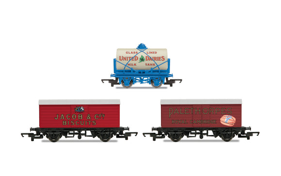 Hornby R6991 Hornby 'Retro' Wagons three pack United Dairies Tanker, Jacob's Biscuits & Palethorpes