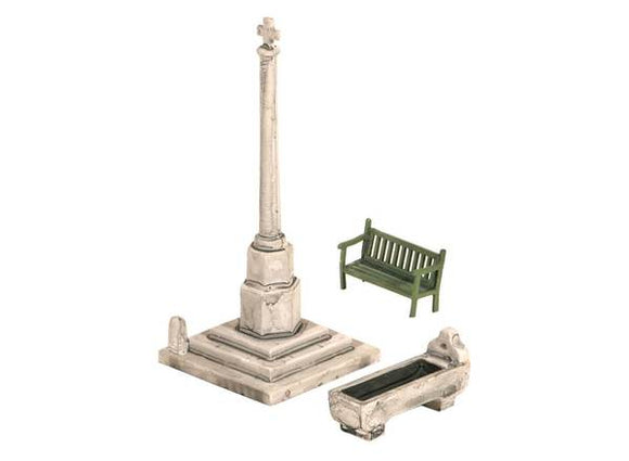 Wills SS72 Village Scene, Bench, Horse Trough & Village Cross OO Scale Plastic Kit