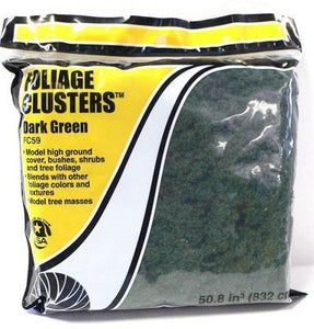 Woodland Scenics FC59 Dark Green Foliage Clusters Bag