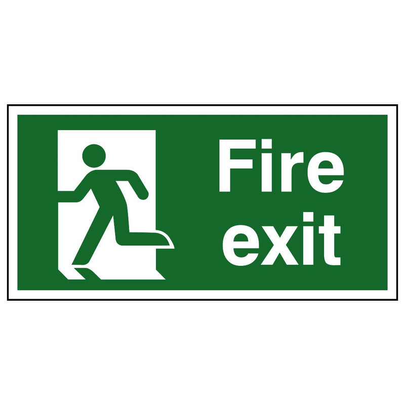 Running Man To Left No Arrow, Fire Exit Sign, 300x150mm, Rigid Plastic Drilled