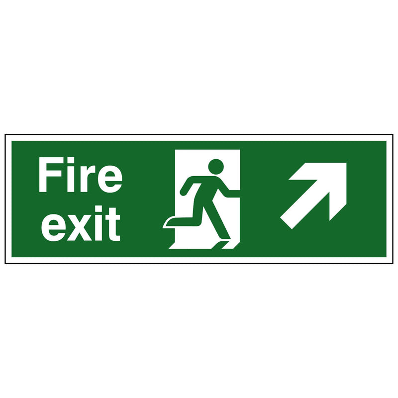Running Man, Up Right Arrow, Fire Exit Sign, 450x150mm, Rigid Plastic Drilled
