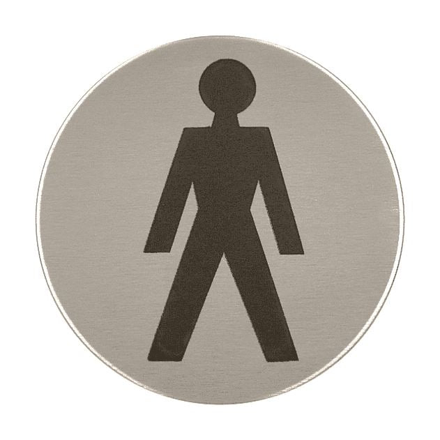 MALE SYMBOL Toilet Sign, 76mm Diameter Satin Stainless Steel Disc, Printed Infill Black