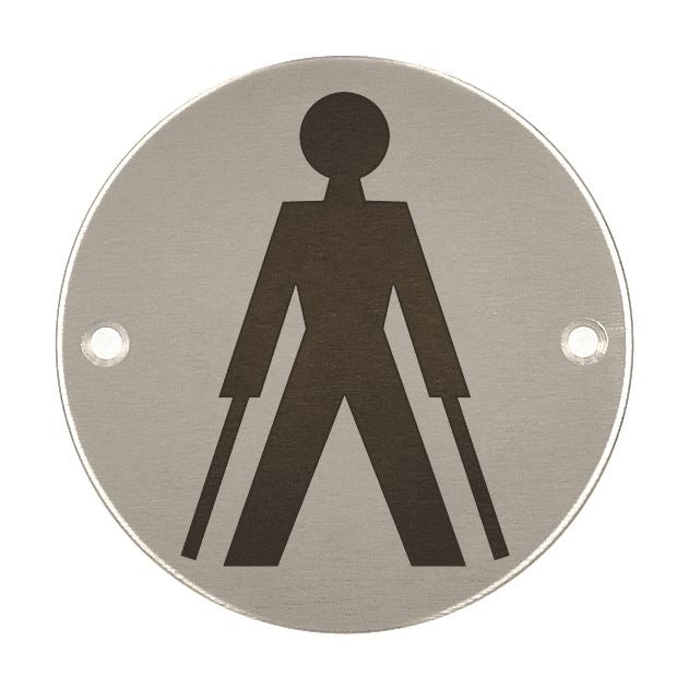 AMBULANT TOILET SYMBOL Toilet Sign, 76mm Diameter Satin Stainless Steel Disc, Printed Infill Black