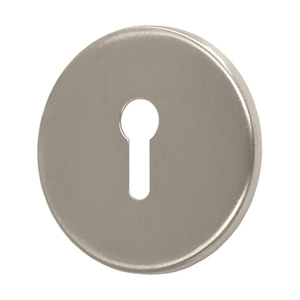 Concealed Fixing Keyhole Escutcheon, 53mm Diameter, Satin Stainless Steel (SINGLES)