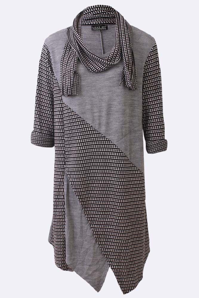 Textured Stripe Patchwork Asymmetric Scarf Dress