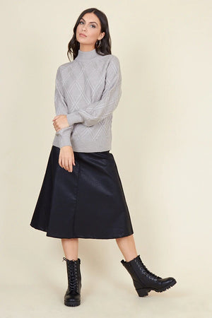 BLACK MATT PU BIAS CUT MIDI SKIRT