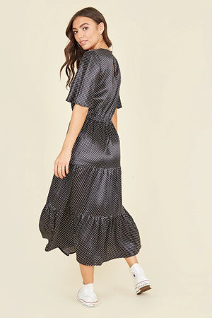 SHORT FLUTTER SLEEVE TIERED MINI DRESS
