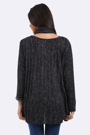 Pleated Lagenlook Crew Neck Long Sleeve Tunic Scarf Top