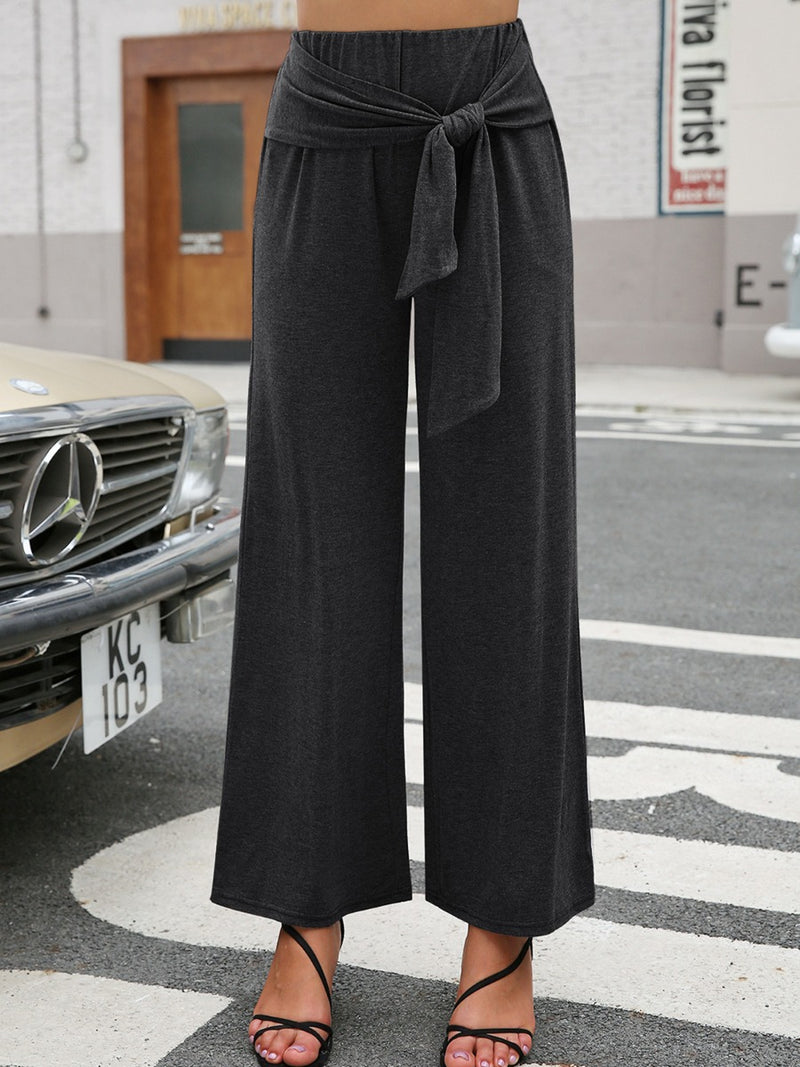 Solid Colour Knot Women Casual Pants
