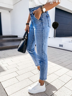 High-waist Double Button Pocket Skinny Denim Pants
