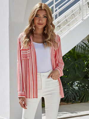 SIMPLE STRIPED FLAP POCKET FRONT SHIRT