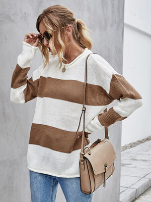 COLOR BLOCK STRIPE TEXTURED KNIT SWEATER