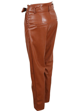 FAUX LEATHER TIE UP BELTED PANTS