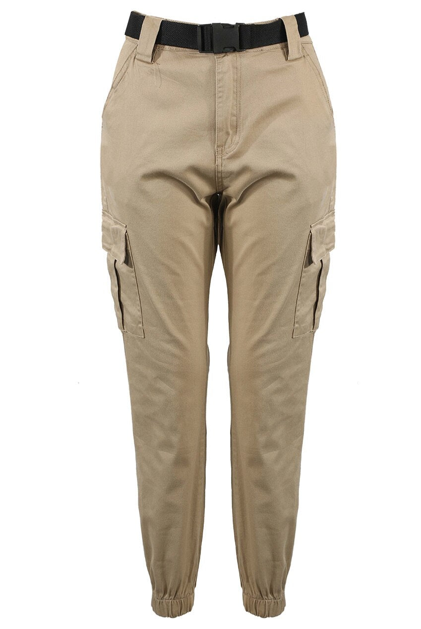 SNAP BUCKLE BELTED CARGO JOGGERS