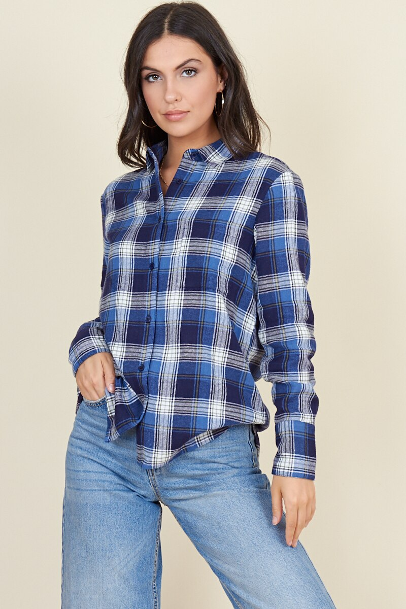 Blue Check Long Sleeve Boyfriend Shirt