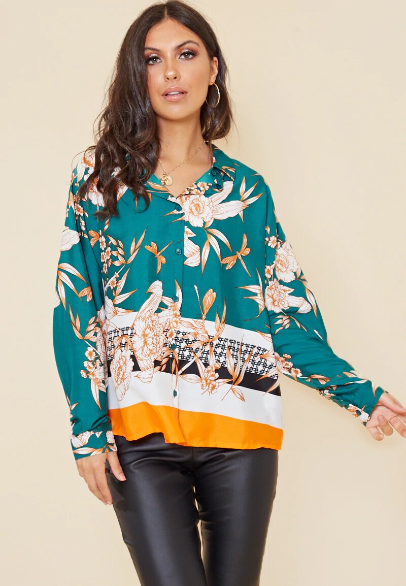 Green Border Print Oversized Shirt