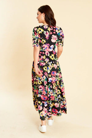 BLACK FLORAL MAXI BALLOON SLEEVE TEA DRESS