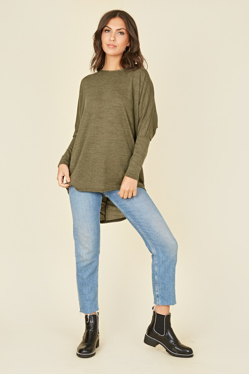 JERSEY LONG SLEEVES DIP HEM TOP