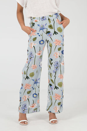 Button Side Floral Trouser