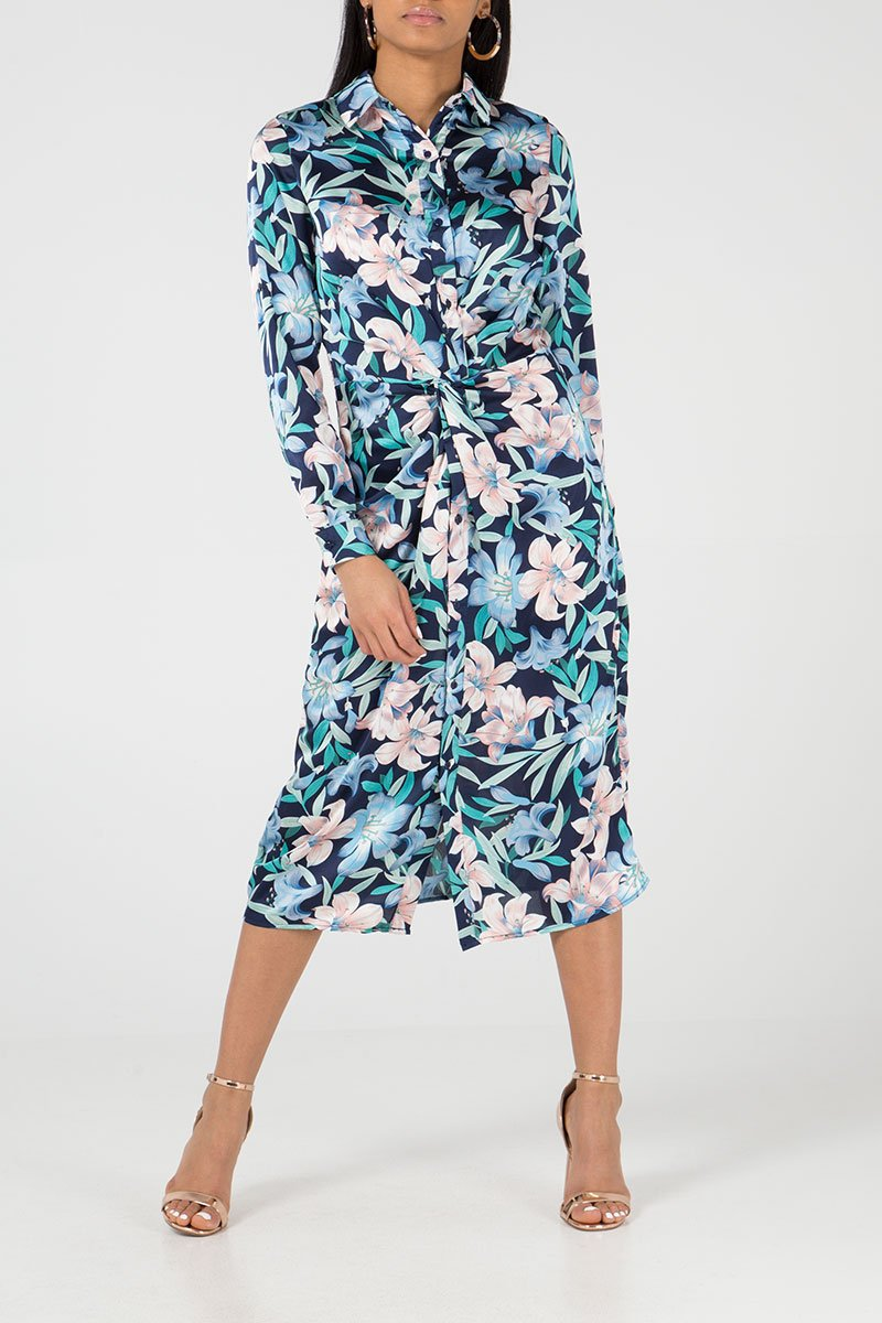 KNOT FRONT MIDI SHIRT DRESS