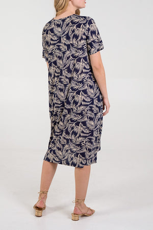 Leaf Print Balloon Shape Dress