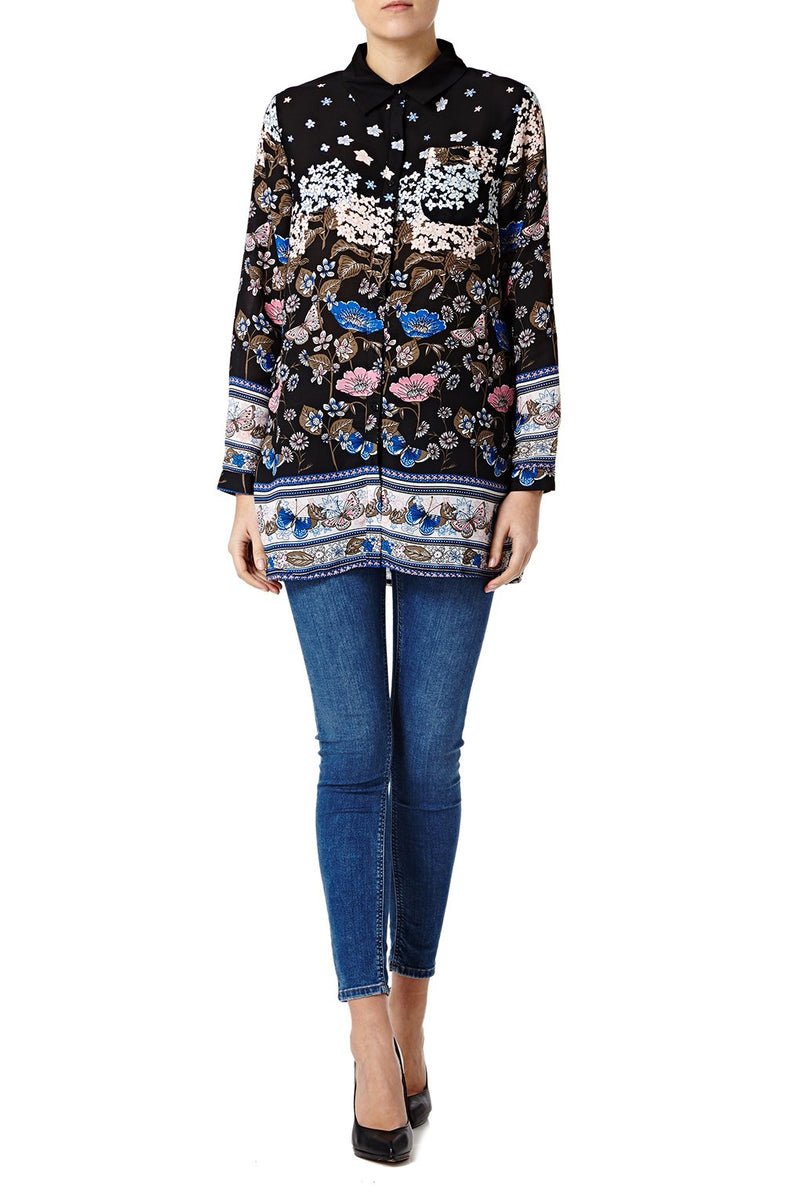 FLORAL PRINTED OVERSIZED COLLAR SHIRT