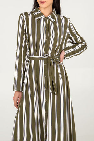 STRIPE MAXI SHIRT DRESS