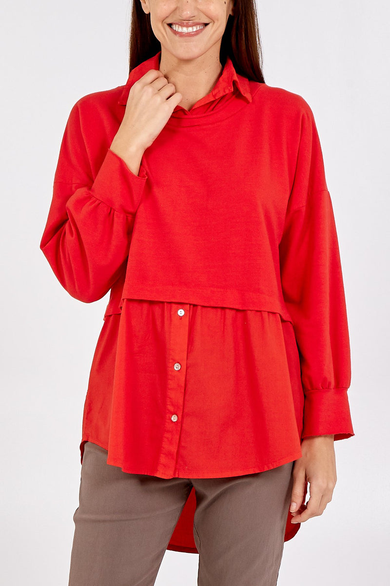 Long Sleeve Shirt With Cropped Jumper