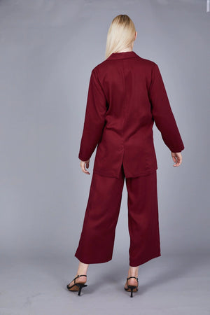NATIVE YOUTH BURGUNDY WIDE LEG SIDE SPLITS WIDE LEG PANTS
