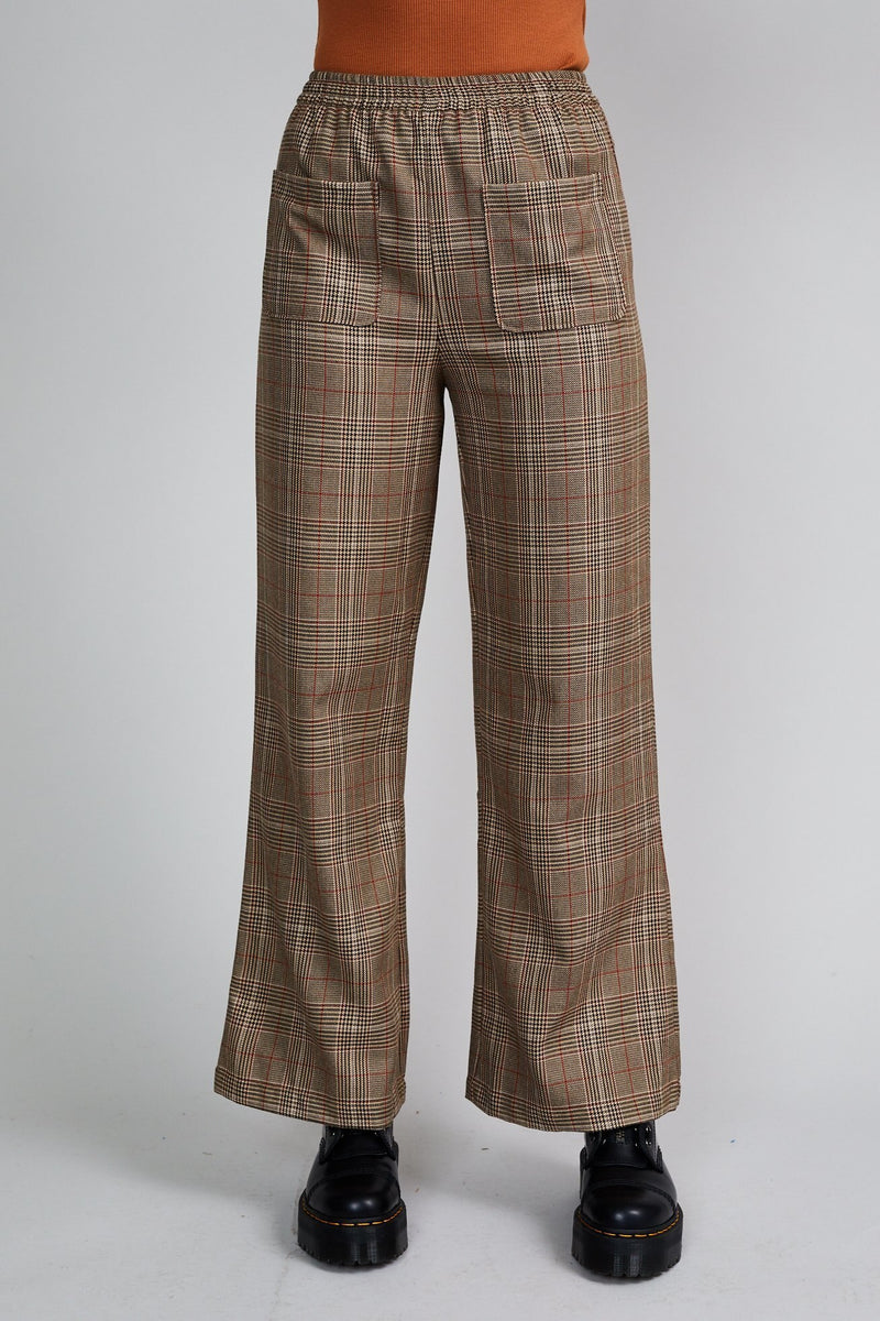 NATIVE YOUTH BROWN CHECK WIDE LEG PANT