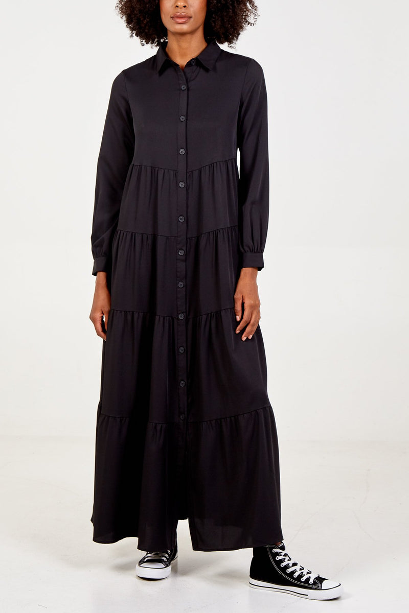 Tiered Maxi Shirt Dress