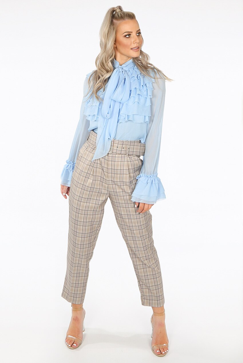 GLEN PLAID BELTED PANTS
