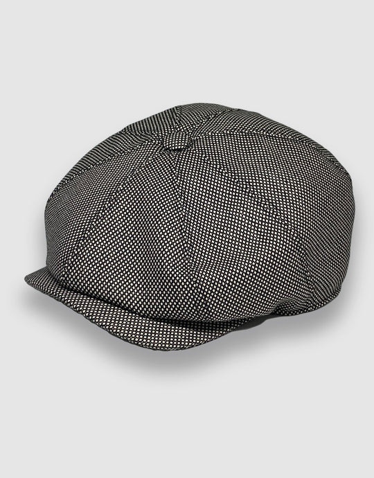 204 Newsboy Cap, Black & White Birdseye