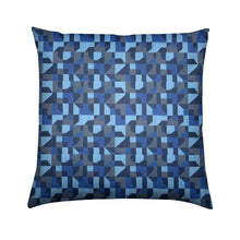 Load image into Gallery viewer, Brushed Twill Cushion, Blue Abstract
