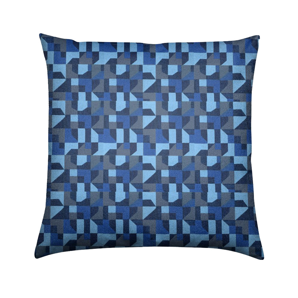 Brushed Twill Cushion, Blue Abstract