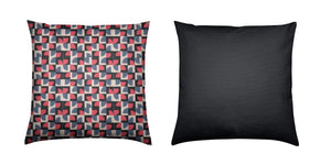 Brushed Twill Cushion, Red Abstract