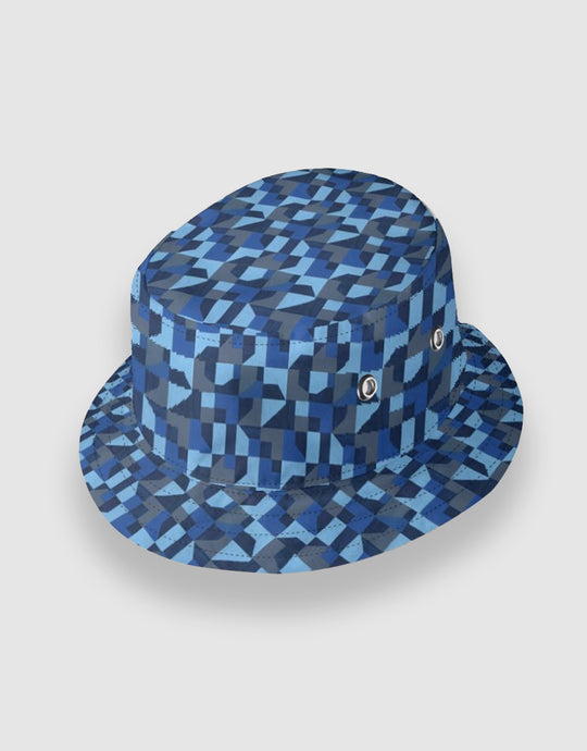 601 Reversible Oil Cloth Bucket Hat, Blue