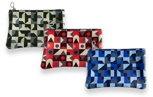 Leather Clutch Bag, Abstract Set of 3
