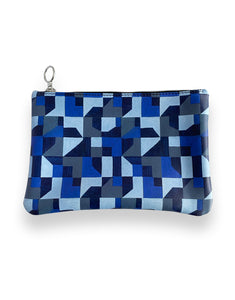 Leather Clutch Bag, Blue Abstract