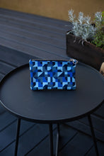 Load image into Gallery viewer, Leather Clutch Bag, Blue Abstract