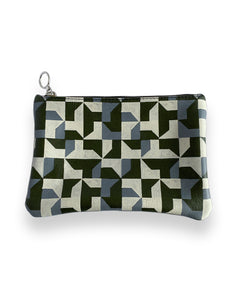 Leather Clutch Bag, Green Abstract