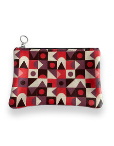 Leather Clutch Bag, Red Abstract