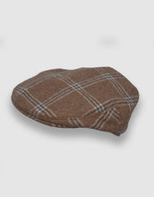 Load image into Gallery viewer, Cashmere 103 Flat Cap, Camel Check