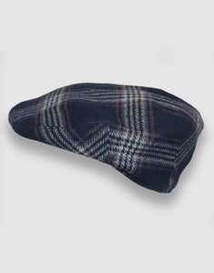 Cashmere 103 Flat Cap, Navy Check