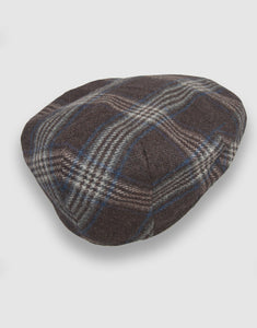 Cashmere 103 Flat Cap, Taupe Check
